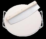 Ceramiczna podstawka do pizzy, okrągła, średnica 33 cm, z nożem Leifheit 3159