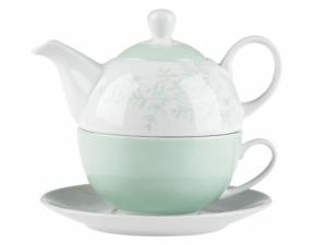 Tea For One dzbanek do herbaty i kawy ze spodkiem Florina Leaves 3-elementowy